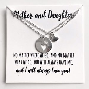 Mother & Daughter Heart Necklace Set